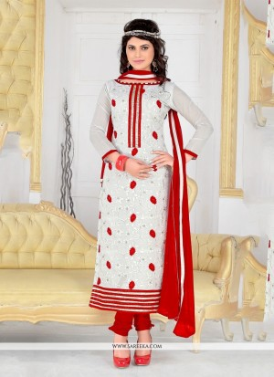 Buy Groovy Chanderi Cotton Off White Churidar Designer Suit Online
