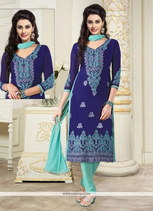 Buy Immaculate Georgette Embroidered Work Churidar Designer Suit Online