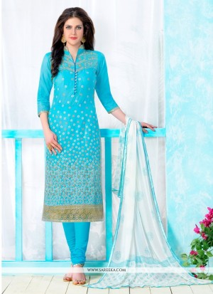 Buy Irresistible Embroidered Work Turquoise Cotton Churidar Designer Suit Online
