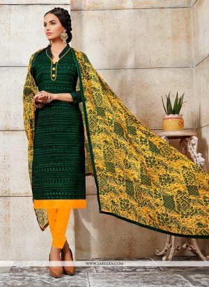 Buy Magnetize Embroidered Work Green Chanderi Churidar Designer Suit Online