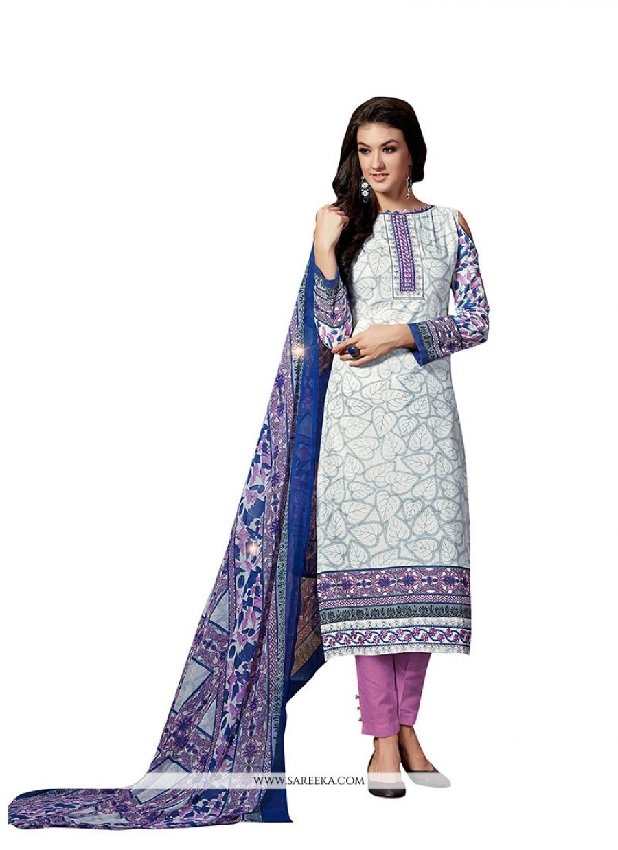 Buy Precious Print Work Fancy Fabric Pant Style Suit Online