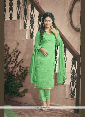 Buy Sophisticated Green Chanderi Cotton Churidar Designer Suit Online