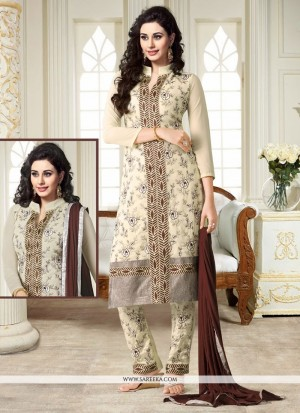 Buy Unique Georgette Cream Churidar Designer Suit Online