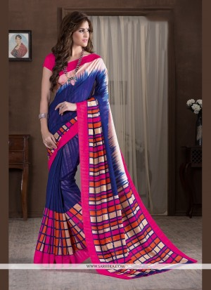 Buy Stupendous Blue Print Work Printed Saree Online