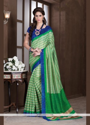 Buy Vehemently Handloom Silk Green Printed Saree Online