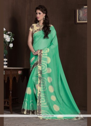 Buy Gleaming Handloom Silk Sea Green Print Work Printed Saree Online
