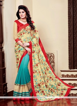 Buy Distinguishable Georgette Multi Colour Embroidered Work Printed Saree Online