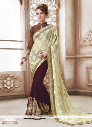 Buy Suave Patch Border Work Cream Designer Saree Online