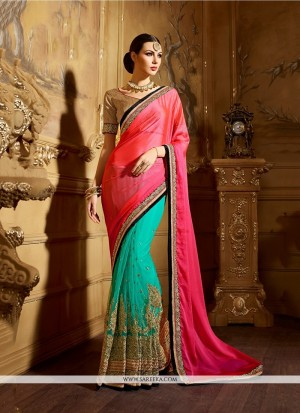Buy Eye-Catchy Jacquard Sea Green Classic Designer Saree Online