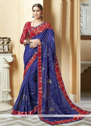 Buy Floral Blue Patch Border Work Silk Printed Saree Online