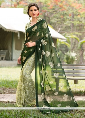 Buy Hypnotizing Green Aari Work Faux Chiffon Casual Saree Online