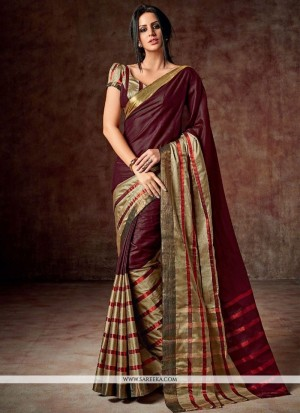 Buy Masterly Maroon Patch Border Work Cotton Casual Saree Online