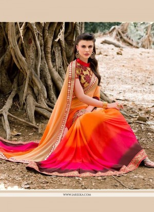 Buy Gilded Multi Colour Embroidered Work Georgette Designer Saree Online
