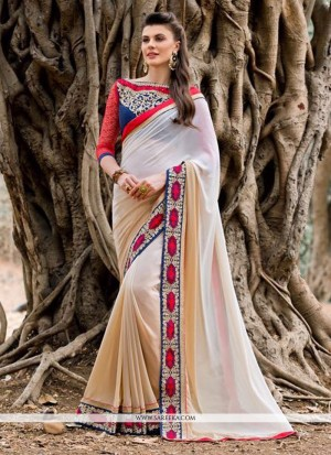 Buy Embroidered Georgette Designer Saree In Beige Online