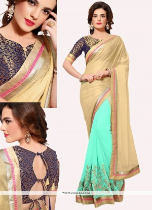 Buy Dainty Lycra Patch Border Work Designer Half N Half Saree Online