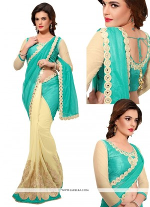 Buy Astounding Beige And Sea Green Lycra Designer Half N Half Saree Online