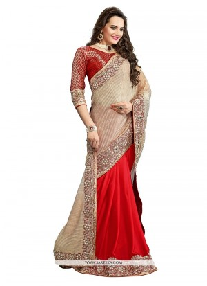 Buy Glossy Embroidered Work Classic Designer Saree Online