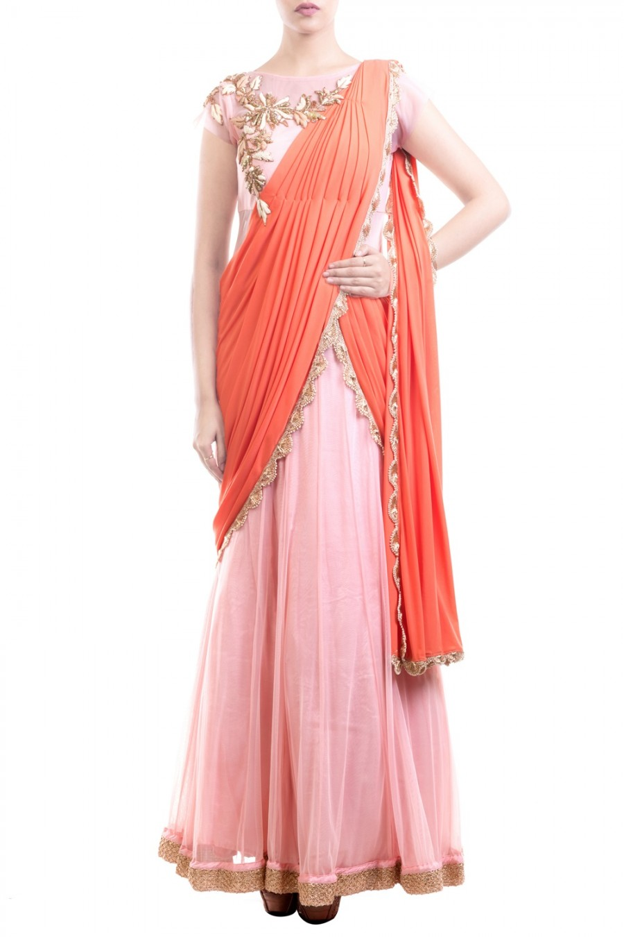 Buy Exclusive Pink & Orange Embroidered Saree Gown at best price ...