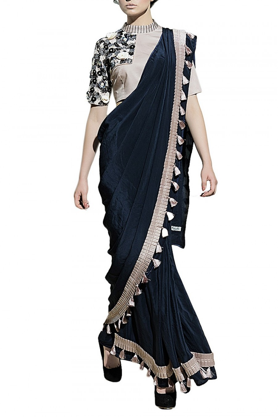 86b322ce669157 Buy Online | Navy Blue & Grey Sequins Embroidered Saree With Blouse ...