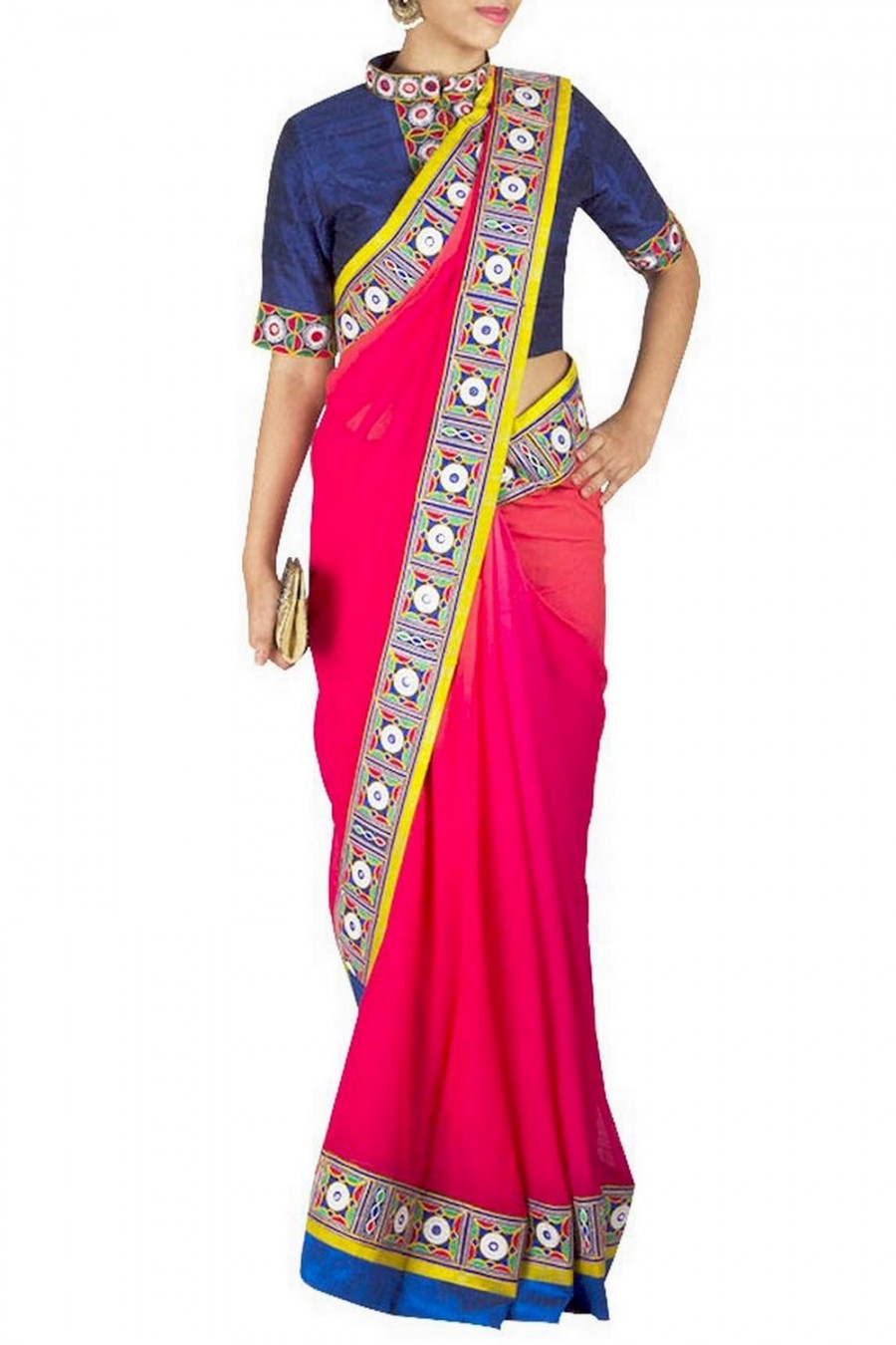 Pink Red Ombre Saree With Kutch Work Blouse Best Sarees Online 534308