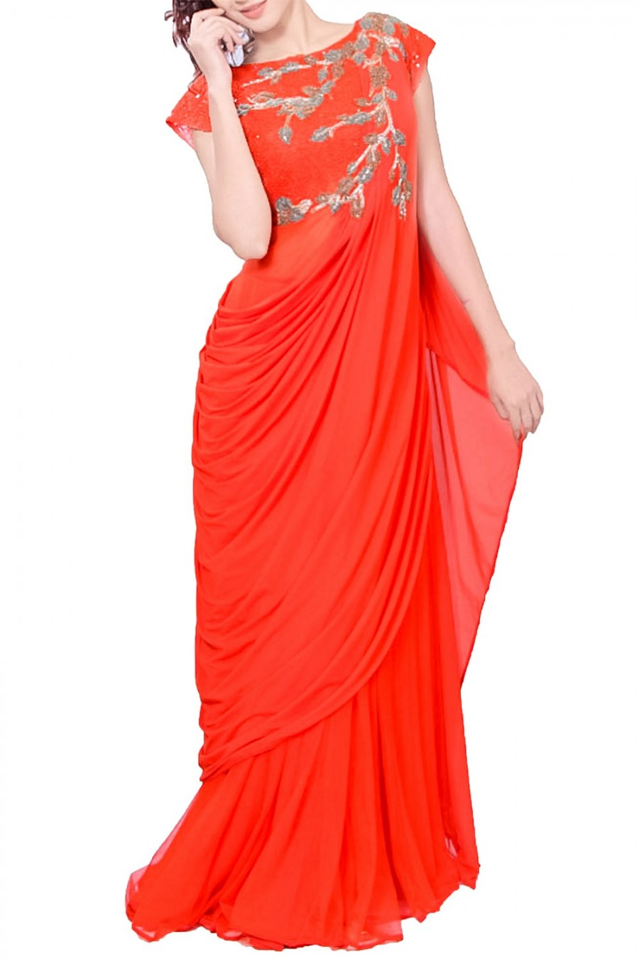 Buy Online|Tomato Red Lycra Drape Palla Saree Gown | 534310