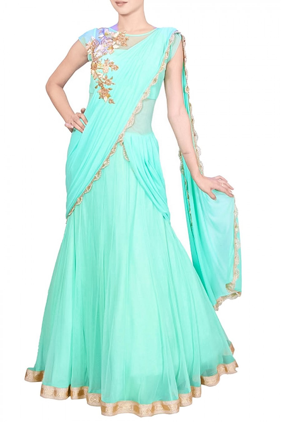 Shopping For | Aqua Green Zardozi Embroidered Saree Gown Online | 534339