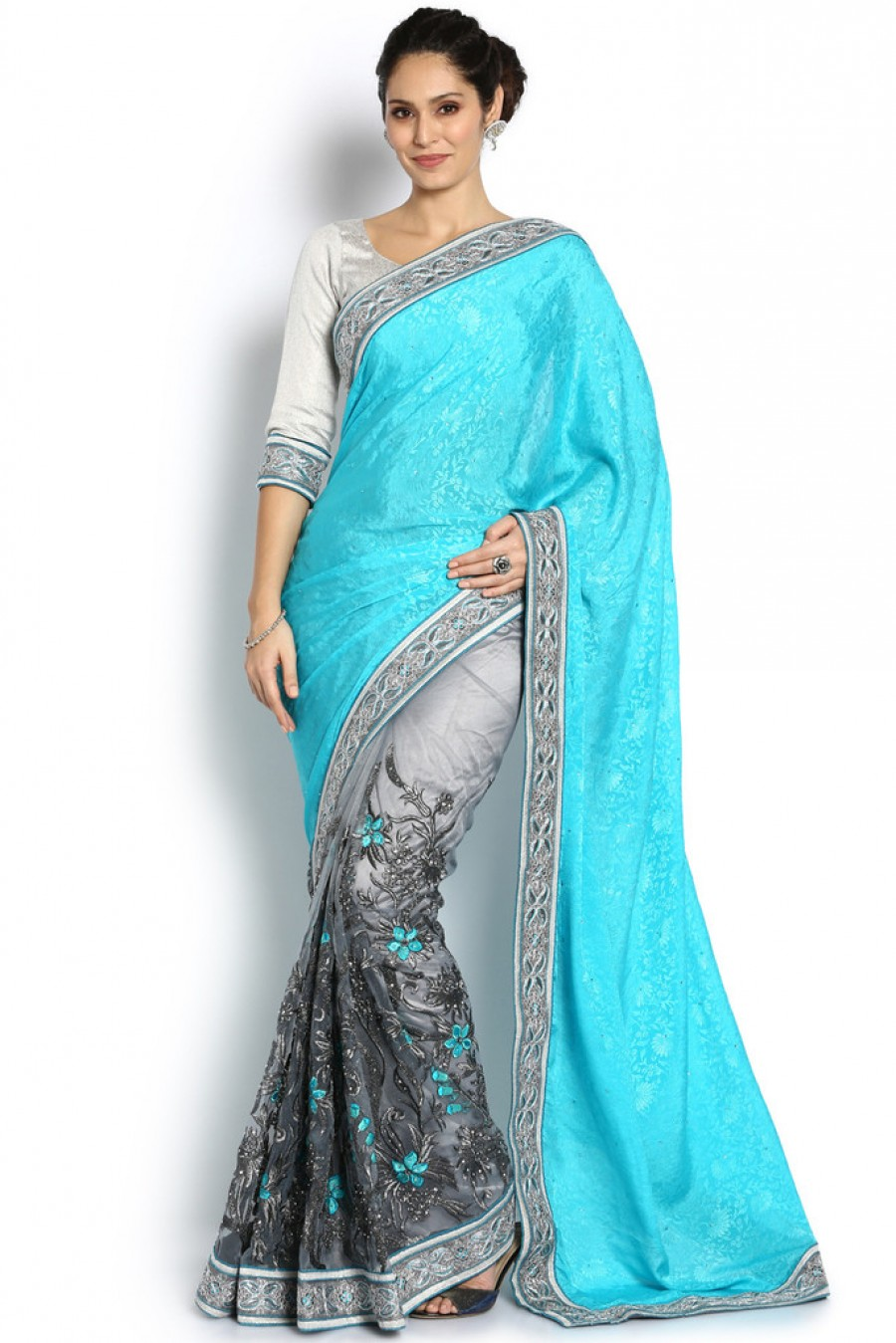 f62068bda2479f Buy Online | Soch Turquoise & Dark Grey Crepe And Net Saree at best ...