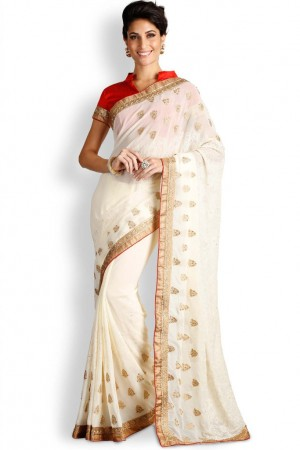 Buy Soch Off-White & Red Chiffon Saree Online