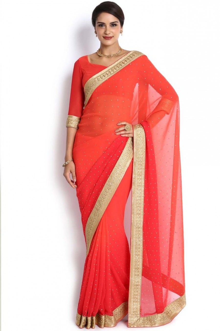 7108e18bc Buy Soch Orange   Gold Embroidered Georgette Saree Online