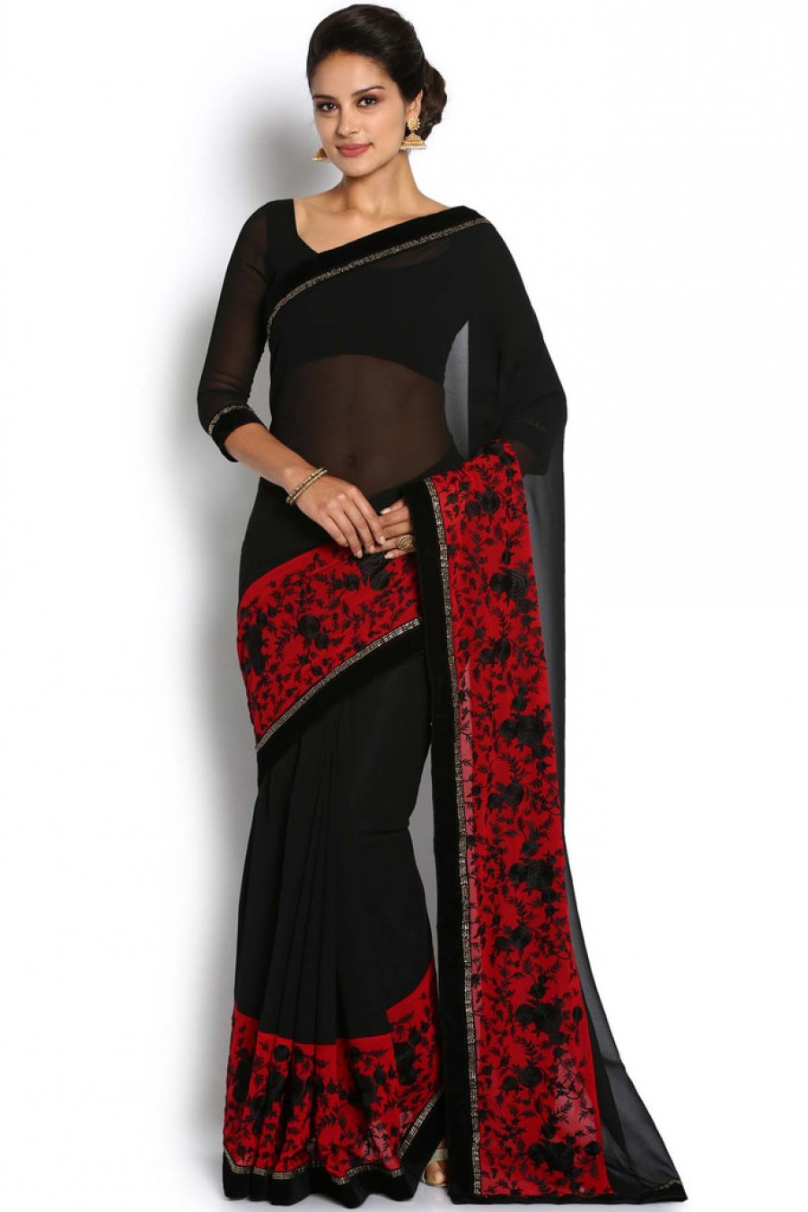 0e4f2d2ac29bf2 Buy Soch Black And Red Georgette Saree Online
