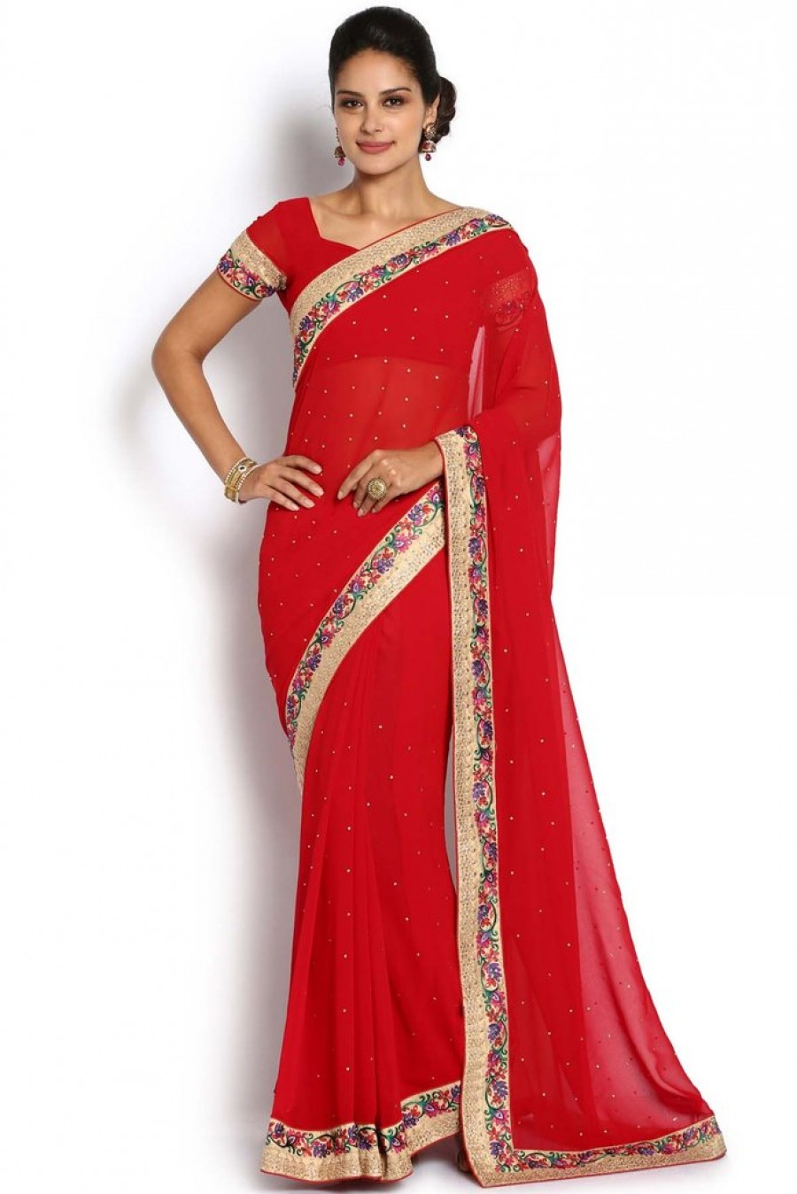 11b3eae504 Shopping For | Soch Red Georgette Stone Work Saree Online | 534739