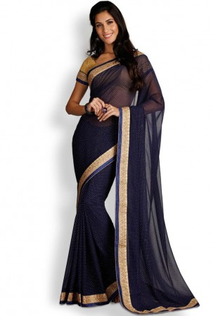 Buy Soch Navy Blue & Gold Chiffon Saree Online