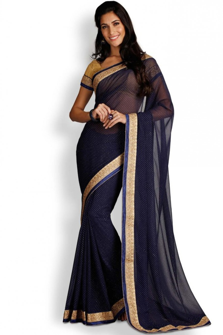 8ac79f2fd Online Shopping Soch Navy Blue   Gold Chiffon Saree