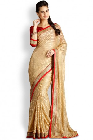 Buy Soch Beige & Red Georgette Saree  Online