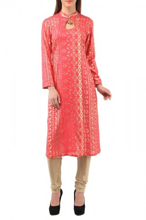 Buy Pink Rayon Kurti With Jhumka Piece Online
