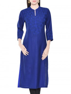 Buy Blue Tussar Cotton Embroidered Kurta Online