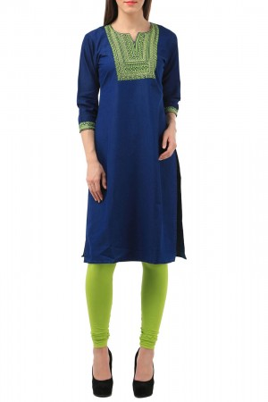 Buy Blue Denim Kurti With Green Embroidery Online
