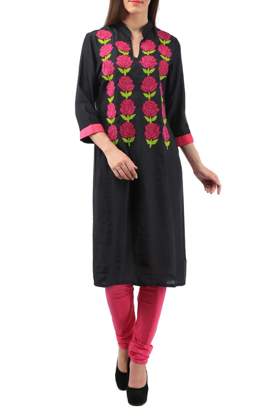 852ea98e369 Buy Black Rayon Kurti With Pink Flower Embroidery Online