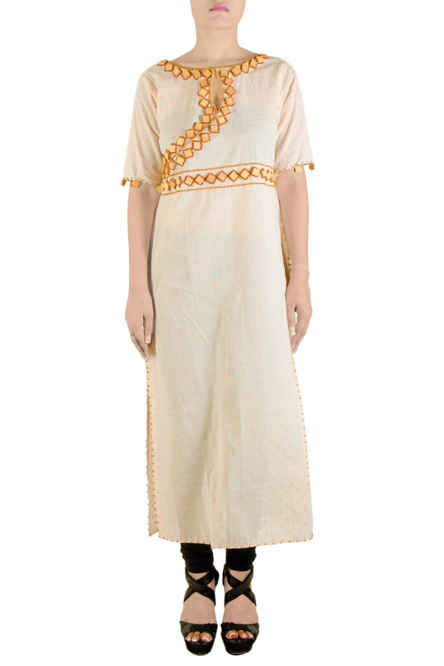 Buy Off White Orange Kurta Online