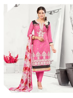 Buy THANKAR Pink Embroidered Chanderi Cotton Dress Material Online