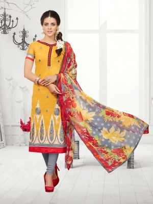 Buy THANKAR Yellow & Grey Embroidered Chanderi Cotton Dress Material Online