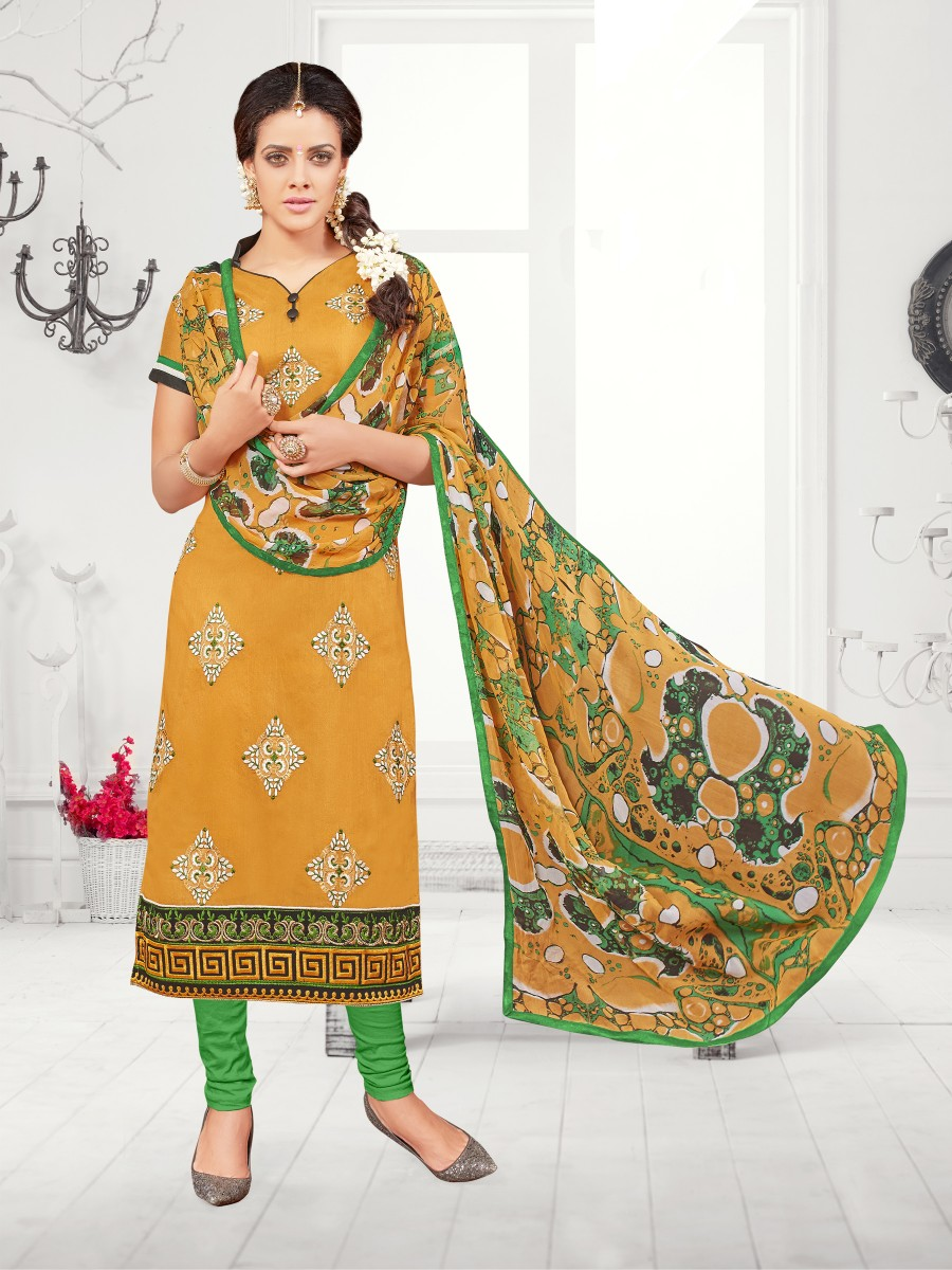 Buy THANKAR Yellow & Green Embroidered Chanderi Cotton Dress Material Online