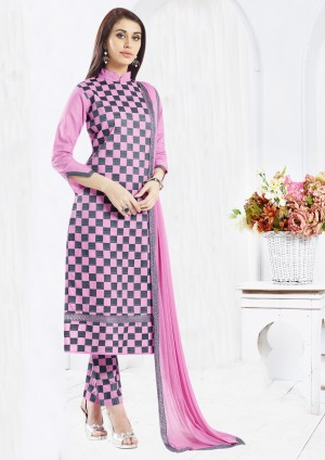Buy THANKAR Pink & Navy Blue Embroidered Cotton Sami Lawn Dress Material Online