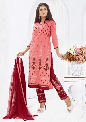 Buy THANKAR Peach & Maroon Embroidered Cotton Sami Lawn Dress Material Online