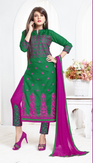 Buy THANKAR Green & Pink Embroidered Cotton Sami Lawn Dress Material Online