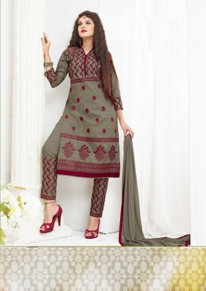 Buy THANKAR Grey Embroidered Cotton Sami Lawn Dress Material Online