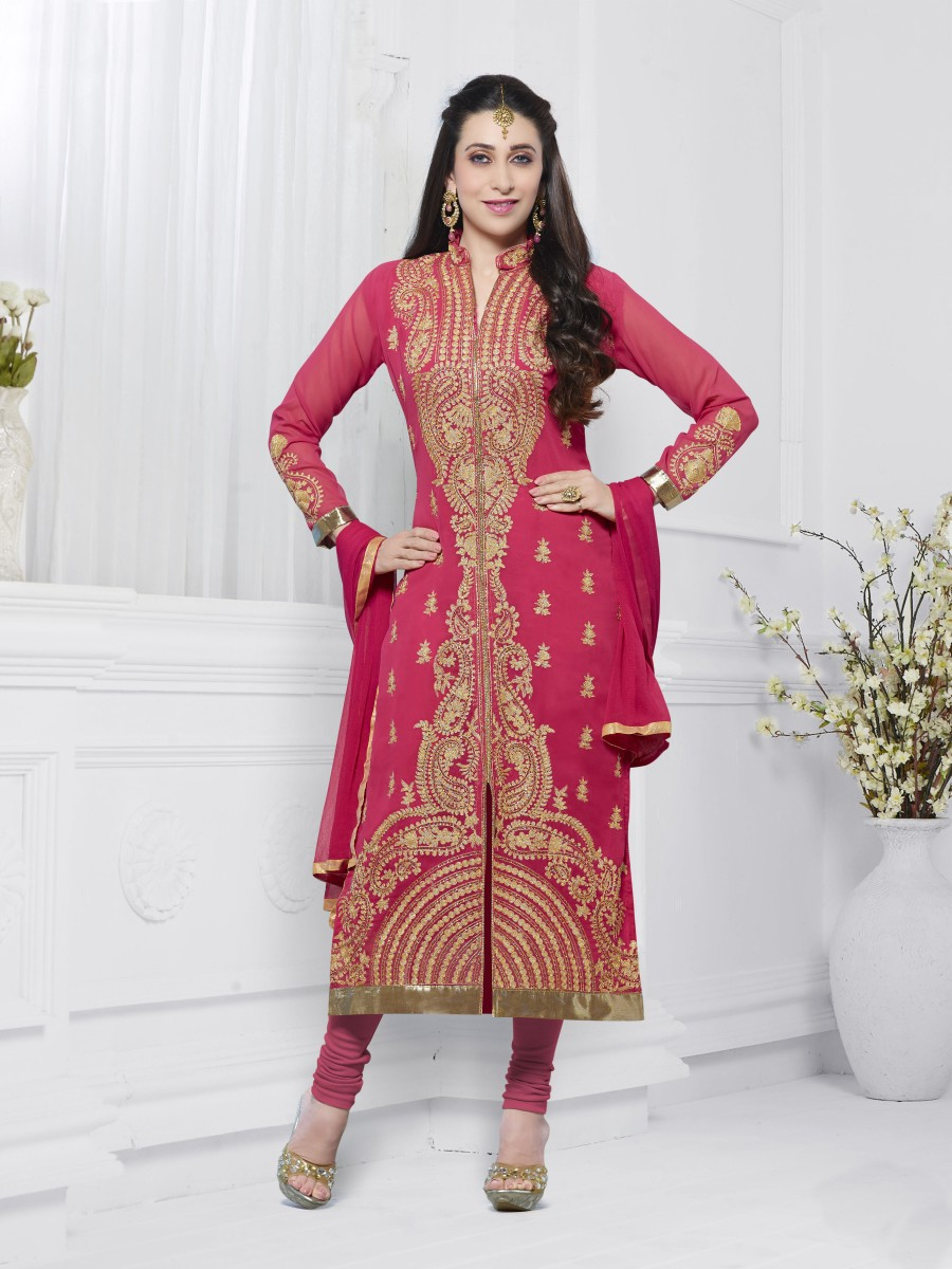 Buy THANKAR PEACH EMBROIDERED FAUX GEORGETTE STRAIGHT SUIT Online