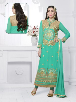 Buy THANKAR AQUA EMBROIDERED FAUX GEORGETTE STRAIGHT SUIT Online