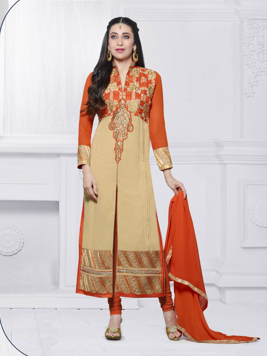 Buy THANKAR CREAM & ORANGE EMBROIDERED FAUX GEORGETTE STRAIGHT SUIT Online