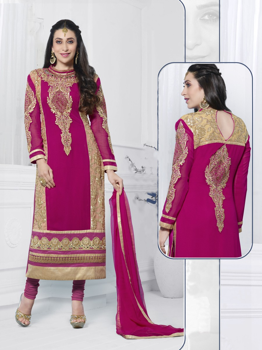 Buy THANKAR PINK EMBROIDERED FAUX GEORGETTE STRAIGHT SUIT Online